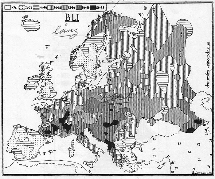cephalic index in Europe according to Lundman